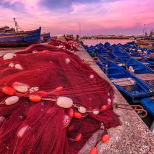 Sunset at blue hour at Essaouira port in Morocco.
